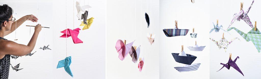 מוביילים לעיצוב הבית ולחדרי ילדים, מובייל מטוסים, מובייל סירות, מובייל עגורים, מובייל אוריגמי - מורן אלחלל אוריגמי בד.