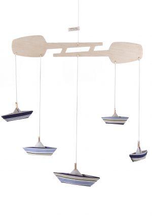 מובייל סירות אוריגמי לעיצוב חדר הילדים, מתנת לידה. בד פסים נייבי וירוק, מובייל התפתחותי, מובייל לתינוק - מורן אלחלל אוריגמי בד
