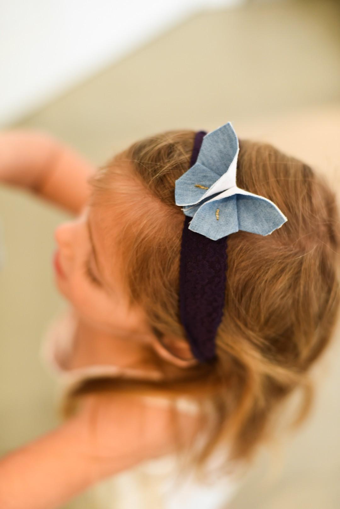 אקססורייז לשיער, סרט לראש לילדות, פרפר ג'ינס, סרט פרפר כחול. מורן אלחלל אוריגמי בד