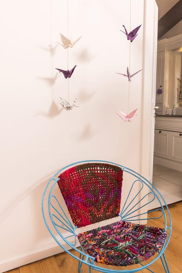 גרלנדת 3 עגורי אוריגמי בשילוב בדי כותנה בהדפסים שונים . מתנה לבית, עיצוב הבית מורן אלחלל אוריגמי בד