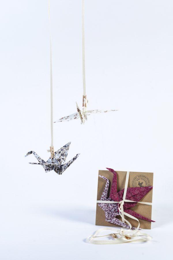 מובייל לוילון זוג עגורי אוריגמי בד לתלייה ולעיצוב הבית, בגווני שמנת וחום.מתנה לבית חדש, מתנה לחג, מתנה לגננת. מורן לאחלל אוריגמי בד