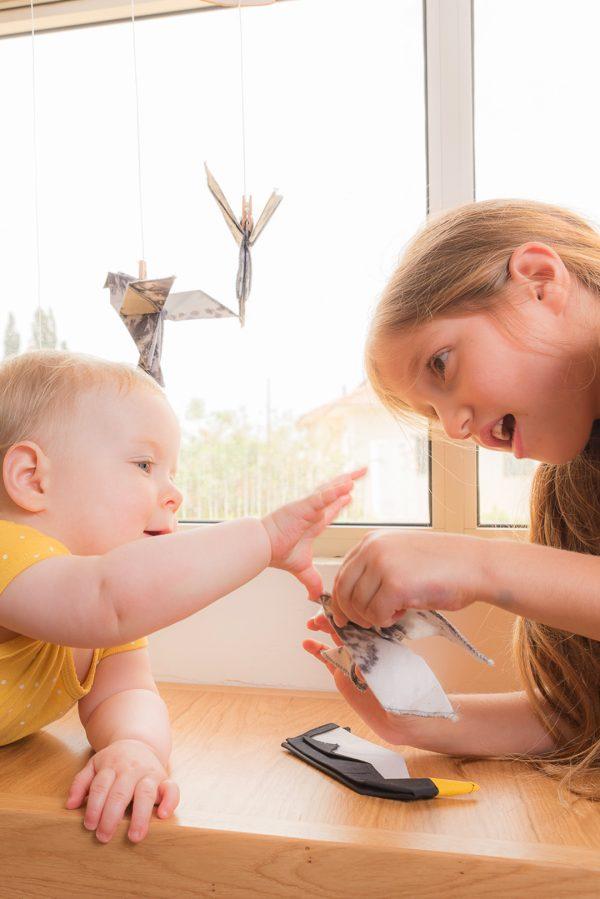 מובייל ציפורי אוריגמי בד, מובייל לתינוק, מובייל לעיצוב חדר הילדים, מובייל למיטת תינוק, מובייל לתינוק, מתנת לידה, מתנה מעוצבת, מורן אלחלל אוריגמי בד