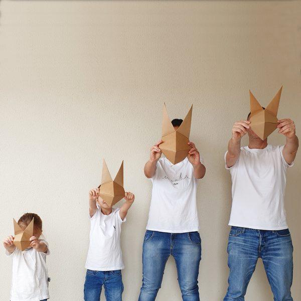 סט מסכות אוריגמי למשפחה - מסכות שועלים לקישוט, יצירה לילדים, משלוחי מנות מעוצבים, מסכות אוריגמי, קיפולי נייר. מורן אלחלל