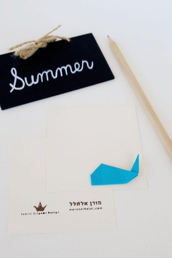 זוג כרטיסי ברכה לוויתן אוריגמי כחול ותכלת, כרטיסי ברכה אוריגמי, כרטיסי ברכה מעוצבים. מורן אלחלל אוריגמי בד