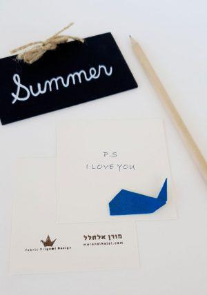 כרטיס ברכה מעוצב, כרטיס אוריגמי, לוויתן אוריגמי כחול, כרטיסי ברכה, מורן אלחלל אוריגמי בד