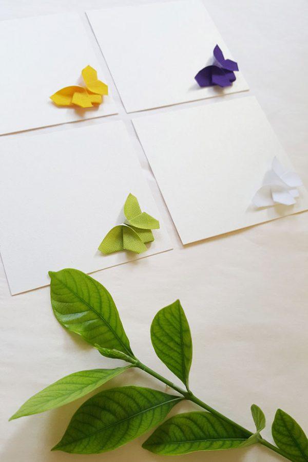 מארז כרטיסי ברכה ,דגם פריחה, פרפרי אוריגמי תלת מימדיים, כרטיסי ברכה מעוצבים, ברכה לאירוע, פרפרי אוריגמי. מורן אלחלל אוריגמי בד