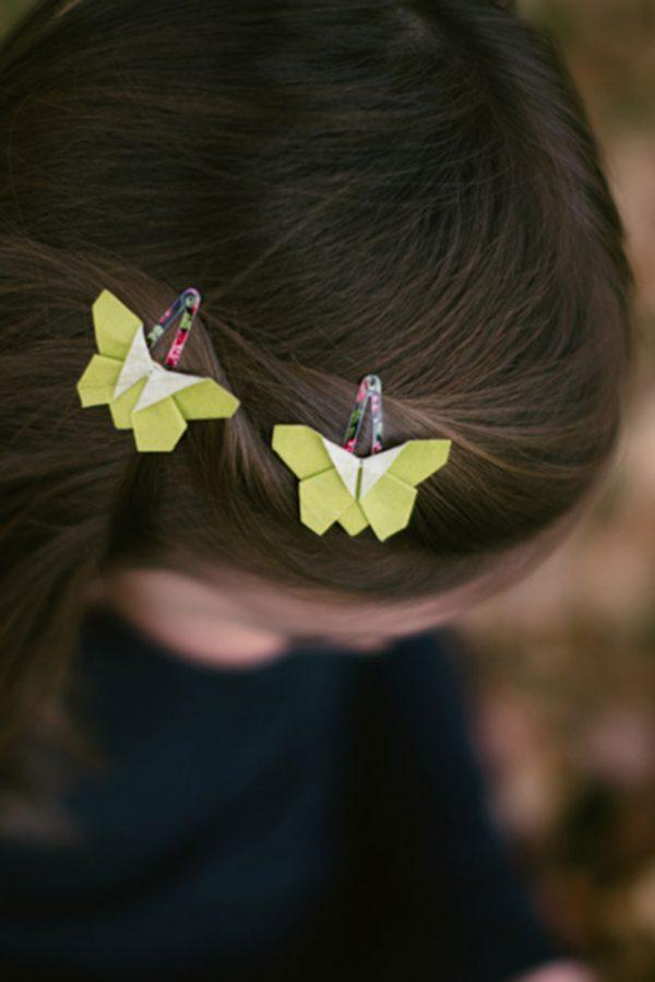 """סיכות ראש מעוצבות לתינוקות,פרפרים ירוקים, סיכות פרפרי אוריגמי בד , סיכות תיק תק קטנות, סיכות 3 ס""""מ, סיכות צבעוניות, אקססוריז לשיער לתינוקות, מתנה לתינוקת, מתנת לידה, מתנה לגיל שנה, מורן אלחלל אוריגמי בד"""