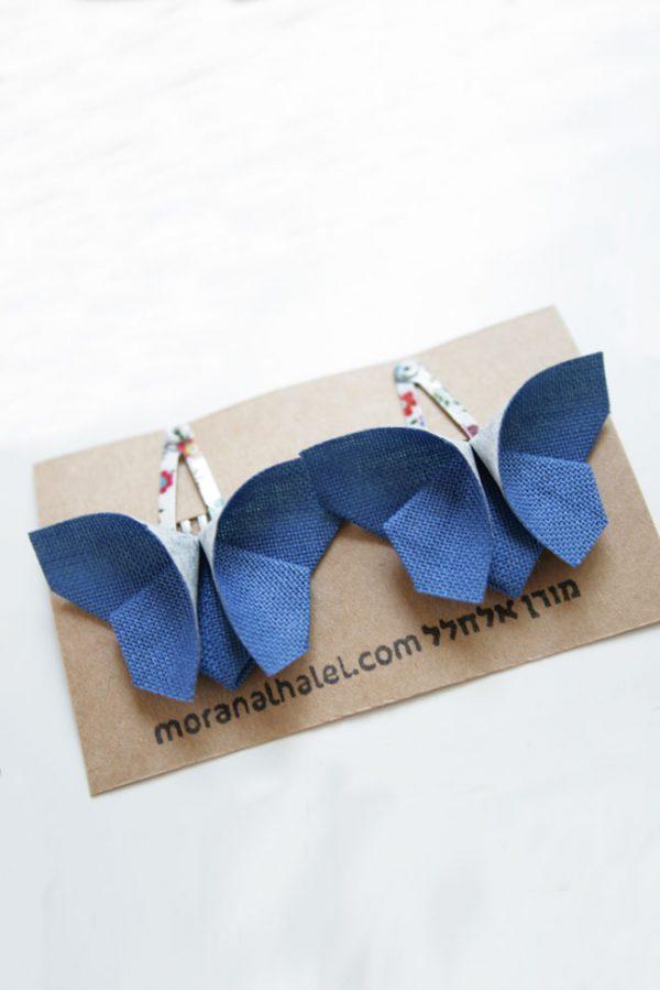 """סיכות ראש מעוצבות לתינוקות,פרפרים כחולים, סיכות פרפרי אוריגמי בד , סיכות תיק תק קטנות, סיכות 3 ס""""מ, סיכות צבעוניות, אקססוריז לשיער לתינוקות, מתנה לתינוקת, מתנת לידה, מתנה לגיל שנה, מורן אלחלל אוריגמי בד"""