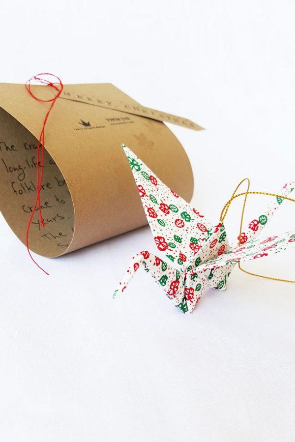 עגור אוריגמי, קריסמס, מתנות לחג, קישוט לתלייה, מובייל למזל וברכה, ירוק אדום ולבן. מורן אלחלל אוריגמי בד