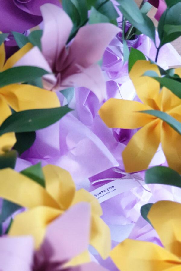 זר פרחי אוריגמי מעוצב בצבעי שדה, פרחי מנייר, פרחים לאירועים, סידורי שולחן מעוצבים, חתונה מקורית, חתונת אוריגמי, עיצוב בנייר, מורן אלחלל אוריגמי בד זרי פרחים מנייר